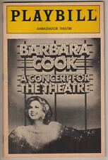 "Barbara Cook  ""A Concert For The Theatre""  Playbill  1987  Broadway"