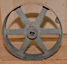 "Antique 14"" diameter 3 1/4"" wide lined shaft belt pulley hit & miss engine tool"