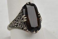 Vtg Sterling Silver Filigree Ring Smoky Quarts Dark Brown Gemstone Sz 9 .925 CNA