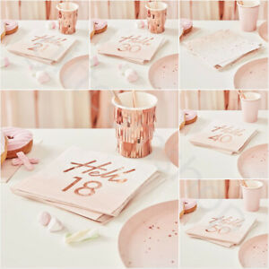 Rose Gold 18th 21st 30th 40th 50th Birthday Napkins Party Tableware Supplies x16