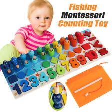 Wooden Fishing Counting Montessori Math Toys Numbers Shape Educational Kids Toys