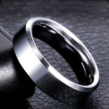 6mm Men Women Stainless Steel Band Silver/Gold/Black/Rose Gold/Blue Ring Sz 5-14