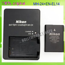 Genuine Original NIKON EN-EL14 Battery + MH-24 Charger For D5100 P7000 D3100