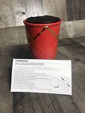 NEW 2016 STARBUCKS Ceramic Tumbler Travel Mug with Lid Red Gold Siren Christmas