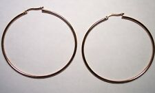 Stainless Steel Rose Gold High Polished Hoop Earrings 60mm(2 3/8inches) Diameter