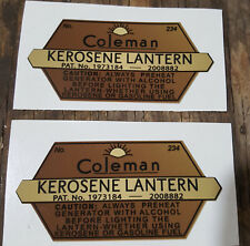 ONE (1) NEW COLEMAN 234 KEROSENE LANTERN STICKER DECAL LANTERN STOVE SMALL REPL
