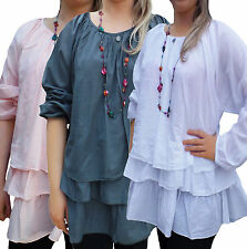 No Pattern Scoop Neck Tunic, Kaftan Plus Size for Women