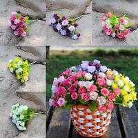 21 Head Artifical Plastic Rose Silk Flower Wedding Bouquet Office Home Decor