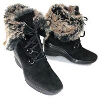 Aquatalia Black Suede Faux Fur Lace Up Wedge Boots Ankle Womens Size 10
