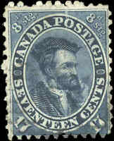 1859-64 Used Canada 17c F Scott #19 Jacques Cartier First Cents Issue Stamp