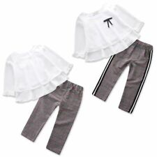 Baby Girls Kids Chiffon Tops - Shirt Long Ribbon Trousers Pants Clothes Outfits