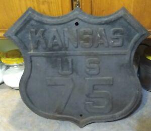 """VERY RARE Old KANSAS """"US 75"""" Die Cut Embossed Metal HIGHWAY SIGN"""