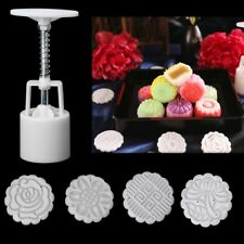 Moon Cake Mold Mould Hand Pressure Flower Decor Motif Pastry 50g Round+4 Stamps