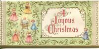 VINTAGE CHRISTMAS PRETTY GIRLS ANGELS CHRIST CHILD SCROLL DESIGN GREETING CARD