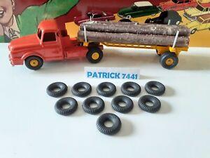 Lot de 10 Pneus crantés 21/8 noir pour Dinky Toys Willeme fardier ref 36