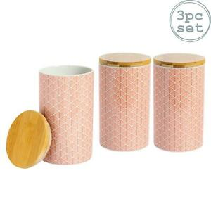 Tea Coffee Sugar Canisters Kitchen Storage Canister Set - Coral / Orange - x3