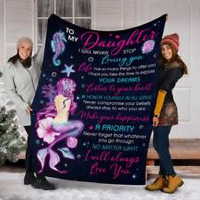 [Customizable]To Daughter Mermaids  Fleece Sherpa Woven Blanket