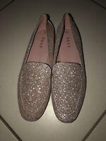 Next silvery Glitter Loafers Shoes Flats UK 5 NEW