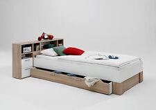 Bett 90 x 200 cm Jugendbett Kinderbett Eiche / weiss Woody 70-00477