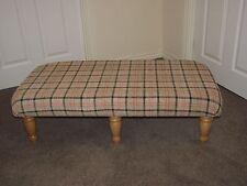 Beige Tartan xl upholstered coffee table footstool light turned leg foot stool