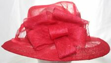 Vintage Classy Red Straw Women's Bucket Hat Cloche W/ Ribbon Accent Size Large