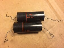 2 NOS Vintage Sprague Black Beauty .5 uf 600v Capacitors Tube Amp Caps TESTED