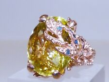 GENUINE 30.03ct Lemon Quartz, Sapphire & Tsavorite Garnet Ring S/Silver 925