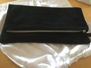 New Black Suede Leather Fold-over Clutch Bag, Handbag, Silver Zip Trims