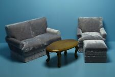 Dollhouse Miniature Living Room Set Couch Chair Ottoman and Table Grey 06219