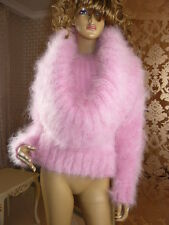 Mohair Hand Knitted Fluffy Pink Cowl Neck Sweater Jumper ,  size  M - L