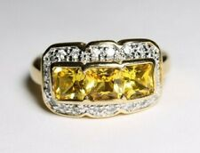 Sterling Silver Goldtone Ring 3 Yellow Gems Size 8
