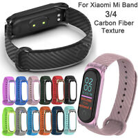 Silicone Wrist Strap Carbon Fiber Band Bracelet Replacement For Xiaomi Mi Band 4