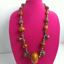 """Brass bell beads, African Amber-phenolic resin, and bauxite vintage necklace 30"""""""