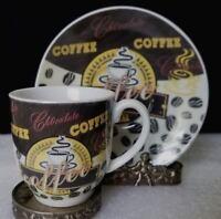 Chocolate Coffee Demitasse espresso, chocolate, tea cup and saucer