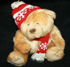 "Christmas TEDDY BEAR 7"" Tan Brown Giltter Plush Red White Winter Cap Scarf Toy"