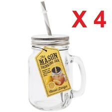 SET of 4 Retro Vintage MASON Glass Jars  Drinking Mugs Cocktail Handle & Straws