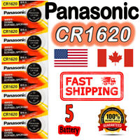 5 Pcs Panasonic CR1620 button cell Lithium battery  3V. FREE RETURN