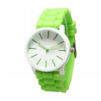Damen Herren Silikon Armbanduhr Bahnhof Style Analog Quarz Uhr grün weiß