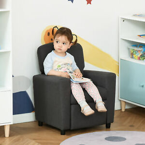 Kids Sofa with Footrest Linen Recliner Upholstered Armchair for Playroom Grey