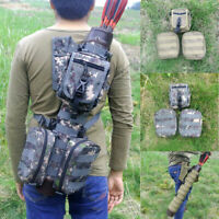 Tactical Archery Leather Arrow Quiver with 3 Molle System Bags for Bow Hunting