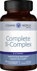 Vitamin world Complete B-Complex - Wellness Support - 250 Coated Caplets