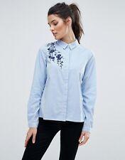 Vero Moda Embroidered Pinstripe Shirt Size S UK 10-12 Blue/White DH076 FF 17