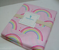 Pottery Barn Kids Pink Multi Color Rainbow Organic Cotton Full Queen Duvet Cover