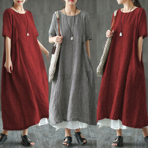 UK STOCK Women Check Plaid Short Sleeve Pockets Casual Loose Long Shirt Dress