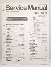 Technics Original Service Manual + Supplement Page ST-GT350 Tuner