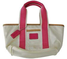 White Pink & Brown XS COACH Handbag, 12 x 6 x 3 in, 4 in drop