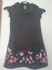 Girls Dark Grey Short Sleeve Floral Dress Age 6-7 Years