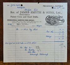1948 James Smyth & Sons, Corn & Seed Drills, Peasenhall, Suffolk Invoice