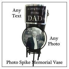 Silver & Black Spike Flower Vase - Memorial Photo Plaque Vase For Crem Funeral
