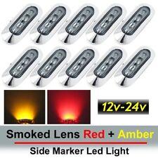 "3.6"" Smoked Lens 5 Red & 5 Amber 4 LED Side Marker Camper Truck Light Waterproof"